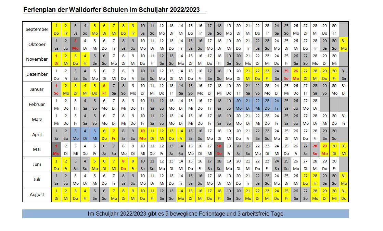 Ferienplan 2022-23
